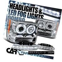 ヘッドライトJeep93-96GrandCherokeeChromeHaloProjectorHeadlights+6-LEDFogLampsジープ93-96グランドチェロキークロムハロープロジェクターヘッドライト+6-LEDフォグランプ