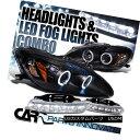 ヘッドライト Fit Honda 00-03 S2000 S2K AP1 Black Halo Projector Headlights+6-LED Fog Lamps フィットホンダ00-03 S2000 S2K AP1ブラックハロープロジェクターヘッドライト+ 6-L EDフォグランプ 1