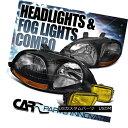 ヘッドライト Fit 1996-1998 Honda Civic Black Crystal Head...