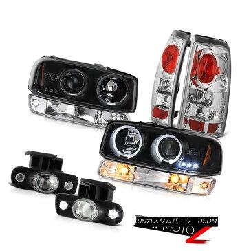 ヘッドライト 99-02 Sierra SLT Fog lights tail brake lamps bumper light matte black headlamps 99-02シエラSLTフォグライトテールブレーキランプバンパーライトマットブラックヘッドランプ