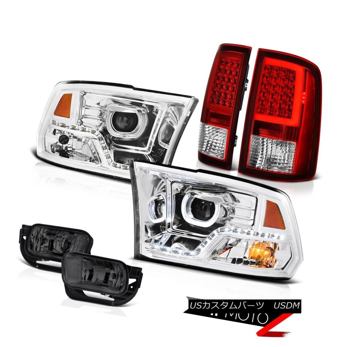 ヘッドライト 09 10 11-18 Dodge RAM 2500 Bloody Red Tail Lamps Crystal Clear DRL Head Lamp Fog 09 10 11-18ダッジRAM 2500ブラッディレッドテールランプクリスタルクリアDRLヘッドランプフォグ画像