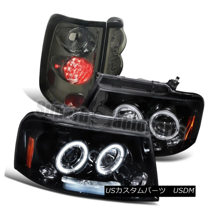 2004-2008 Ford F150 Glossy Black LED Halo Projector Headlights+Smoke Tail Lights