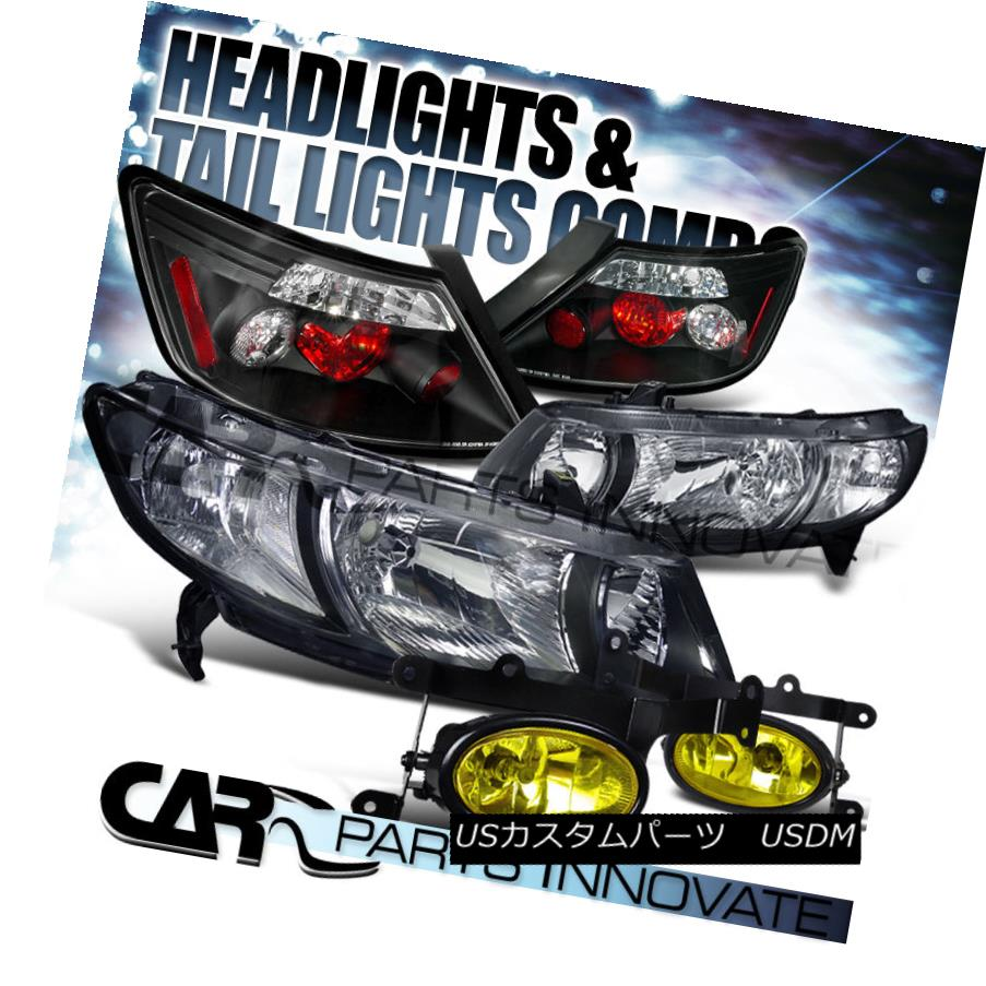 ライト・ランプ, ブレーキ・テールランプ  For 06-08 Civic 2Dr Coupe Black HeadlightsAltezza Tail LightsYellow Fog Lamps 06-082Dr Alt ezza