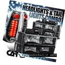 テールライト 94-98 GMC C10 Sierra Black Clear Headlights+...