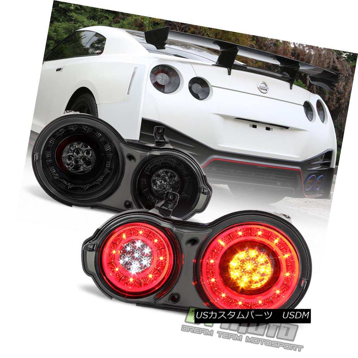 テールライト Smoke For 2009-2017 GT-R R35 Godzilla GT1/ GT3 Full LED Tail Lights Brake Lamps 2009-2017 GT-R R35ゴシラGT1 / GT3フルスモークテールライトブレーキランプ画像