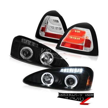 テールライト 2004-2008 Pontiac Grand Prix Black DRL Headlights Cleare LED Rear Tail Lights 2004-2008ポンティアックグランプリブラックDRLヘッドライトクリアLEDリアテールライト
