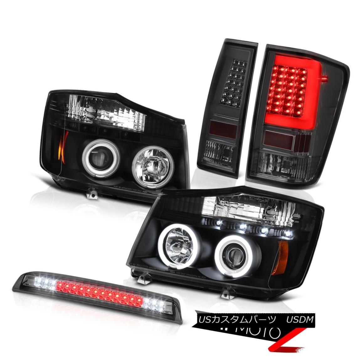 テールライト 04-14 For Nissan Titan 3Rd Brake Rear Nighthawk Black Projector Head Lamps Set 04-14日産タイタン用3Rdブレーキリアナイトホークブラックプロジェクターヘッドランプセット画像