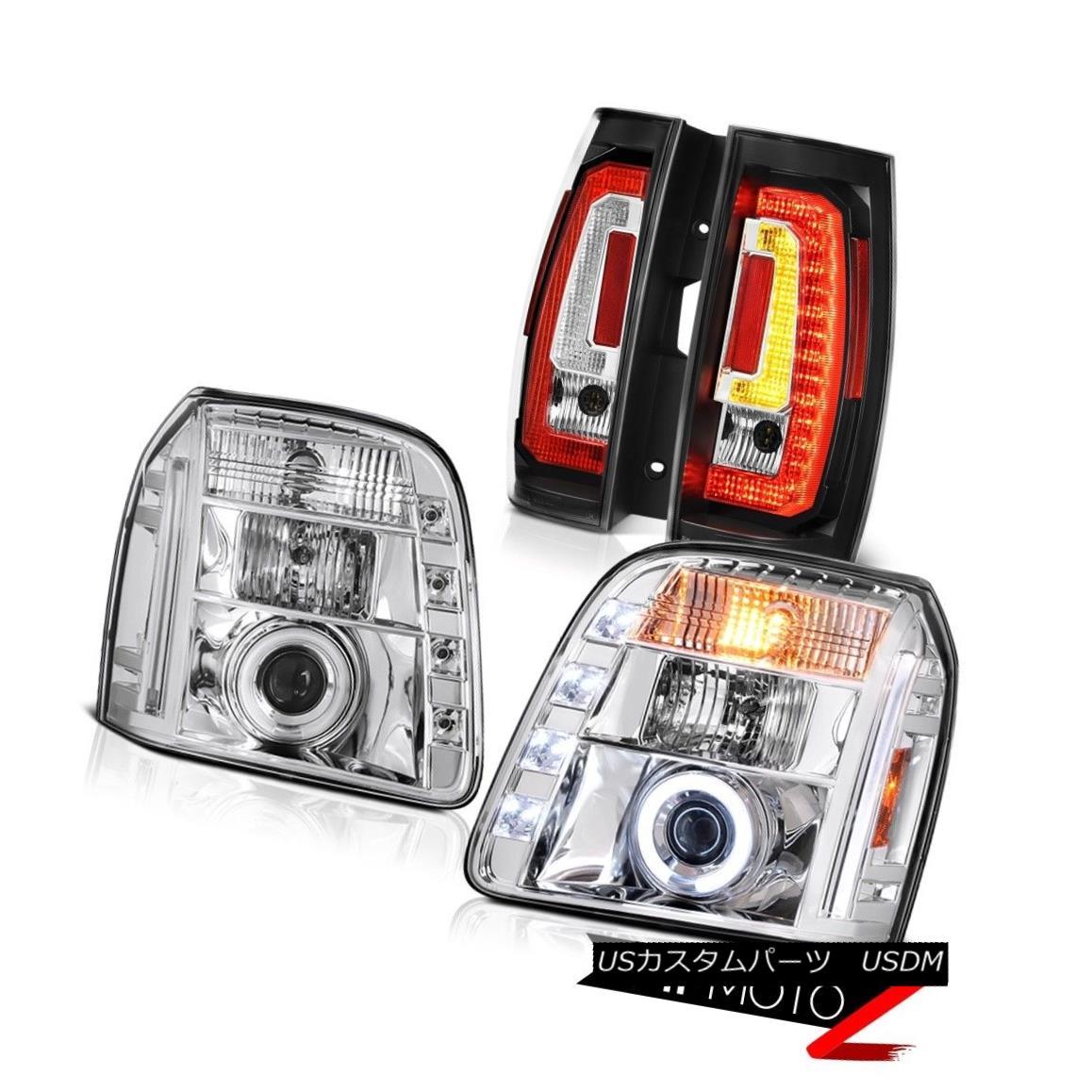 テールライト 2007-2014 Gmc Yukon Xl Nighthawk Black Rear Euro Chrome Custom Head Lamps Pair 2007-2014 GmcユーコンXlナイトホークブラックリアユーロクロームカスタムヘッドランプペア画像