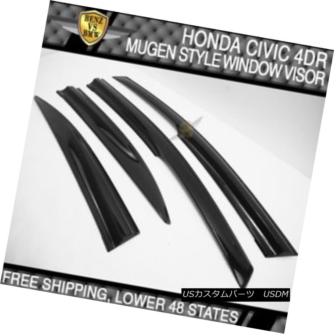 エアロパーツ USA Stock 06-11 Civic 8th Gen 4Dr 4Door MU MUG Smoke Transparent Window Visor USAストック06-11シビック8世4Dr 4ドゥーミュウミュウスモーク透明窓バイザー