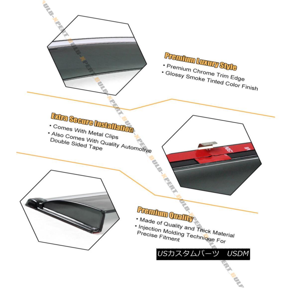 CLIP-ON TYPE SMOKE WINDOW VISOR W// CHROME TRIM FOR 2013-15 NISSAN ALTIMA SEDAN