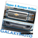 グリル 14-15 Chevy Silverado 1500 Triple Chrome Upper+Bum...