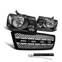 グリル 04-08 Ford F150 F-150 Black Headlights Headlamps w...