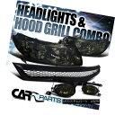 グリル Fit 06-08 Honda Civic 2Dr Coupe Smoke Crystal Head...