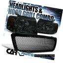 グリル 2004-2008 Ford F150 Smoke Crystal Headlights+Black...
