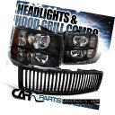 グリル 2007-2013 Chevy Silverado 1500 Crystal Headlights ...