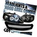グリル For 99-00 Honda Civic Black Halo LED Projector Hea...