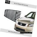 グリル For 08-10 Honda Accord Sedan Black Bumper Stainles...