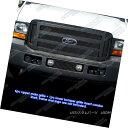 グリル Fits 05-07 Ford F250/F350/Excursion Black Billet G...