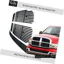 グリル Fits 2002-2005 Dodge Ram Stainless Steel Black Bil...