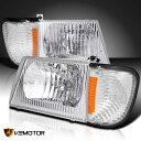 コーナーライト 92-06 Econoline Headlights Head Lamps Chrome+Clear Corner Signal Lights 92-06 Econolineヘッドライトヘッドランプクロム+クリアコーナー信号ライト
