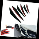 USカナード 6個光沢黒ABS車SUVフロントバンパーフィンスポイ...