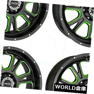 海外輸入ホイール 17x8.5 Vision 399 Fury 5x5 / 5x127 0ブラックグリーンティントホイールリムセット(4) 17x8.5 Vision 399 Fury 5x5/5x127 0 Black Green Tint Wheels Rims Set(4)