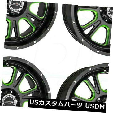 海外輸入ホイール 18x8.5ブラックグリーンティントホイールビジョン399フューリー6x5.5 / 6x139.7 25(4個セット) 18x8.5 Black Green Tint Wheels Vision 399 Fury 6x5.5/6x139.7 25 (Set of 4)