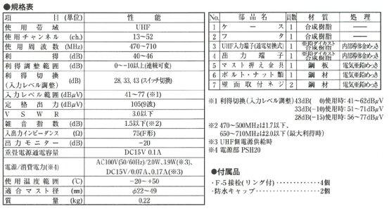 DXアンテナUHFブースターBU433D1(旧BU33L2)