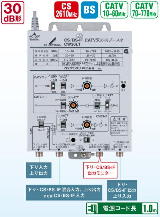 DXアンテナ CATVブースター CS/BS-IF/770MHz帯双方向 CW30L1