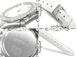 【逆輸入SEIKO】セイコーレディース腕時計ストーンベゼルホワイト×シルバーダイアルホワイトレザーベルトSXDF83P1