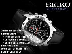 【逆輸入SEIKO】セイコーメンズクロノグラフ腕時計ブラックダイアルブラックレザーベルトSKS421P2