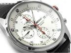 【逆輸入SEIKO】セイコー クォーツ クロノグラフ搭載モデル デイデイトカレンダー メンズ 腕時計 シルバーダイアル ブラックレザーベルト SNDC87P2