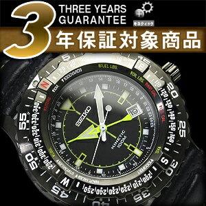 Seiko kinetic men's watch black IP case black dial-black calf leather SKA425P1
