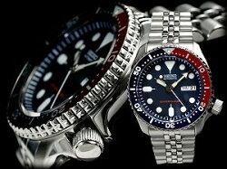 【逆輸入SEIKOBLACKBOY】セイコーメンズサイズネイビーボーイダイバーズ自動巻き腕時計ペプシベゼルネイビーダイアルステンレスベルトSKX009K2