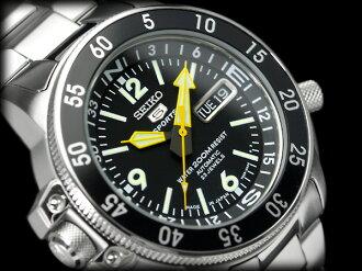 Seiko 5 sports divers watch black Atlas automatic winding watch black dial metal belt SKZ211J1