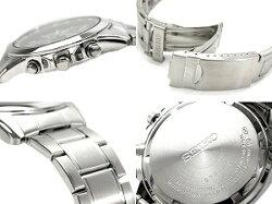 【SEIKO】クロノグラフ腕時計ブラックダイアルメタルベルト海外モデルSND309P