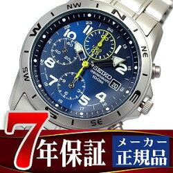 【SEIKO】クロノグラフ腕時計ブルーダイアルメタルベルト海外モデルSND379P