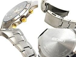 【逆輸入SEIKO】セイコー海外モデルメンズクロノグラフ腕時計ブラック×ゴールドダイアルチタンベルトSND451P1