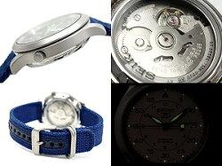 【逆輸入SEIKO5】セイコー5メンズミリタリー自動巻き腕時計ネイビーメッシュベルトSNK807K2