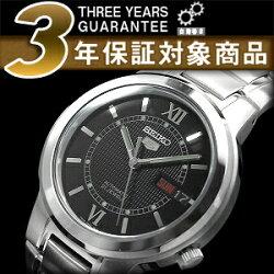 【逆輸入SEIKO5】セイコー5メンズ自動巻き腕時計ブラックダイアルシルバーステンレスベルトSNKA23K1