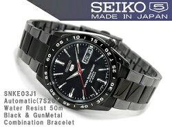【日本製逆輸入SEIKO5】セイコー5メンズ自動巻き腕時計IPブラックブラックSNKE03J1