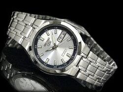 【日本製逆輸入SEIKO5】セイコー5メンズ自動巻き式腕時計シルバー×グレーダイアルシルバーステンレスベルトSNKG19J1