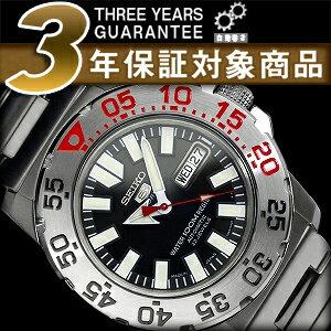 セイコーファイブ mens day date calendar with automatic winding watch black dial silver stainless steel belt SNZF47J1