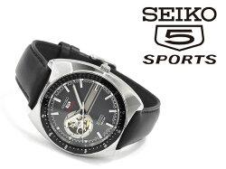 【逆輸入SEIKO5SPORTS】日本製自動巻き手巻き付き機械式メンズ腕時計グレー×シルバーダイアルブラックレザーベルトSSA335J1
