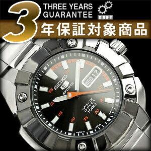 Seiko 5 men's automatic self-winding watch IP black bezel black × orange dial-silver stainless steel belt SNZG23J1