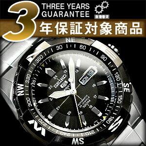 Seiko 5 sports mens automatic watch black bezel black dial silver stainless steel belt SNZJ07K1