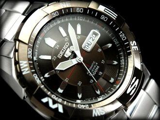 Seiko 5 sports mens automatic watch ガンメタルベゼル black x センターガン metal dial-silver stainless steel belt SNZJ09J1