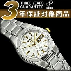 【日本製逆輸入SEIKO5】セイコー5レディース自動巻き腕時計シルバーチェックダイヤダイアルシルバーステンレスベルトSYMH19J1
