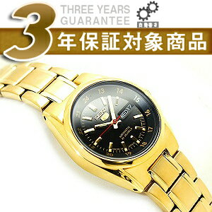 Seiko 5 automatic + manual winding ladies watch black x Gold Dial gold stainless steel belt SYMJ44J1