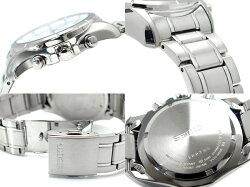 【逆輸入SEIKO】セイコーメンズアラームクロノグラフソーラー腕時計ホワイトダイアルステンレスベルトSSC003P1